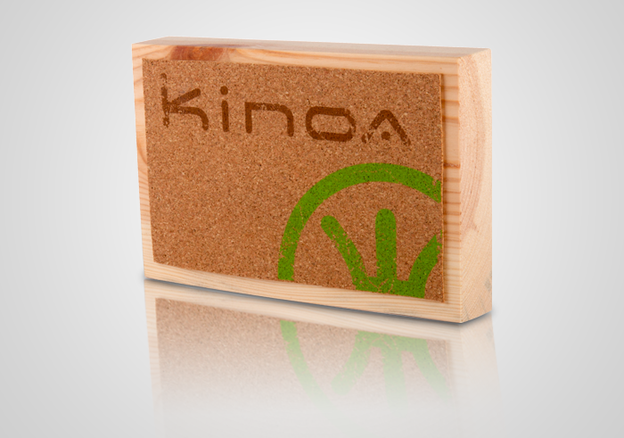 Kinoa display madera y corcho